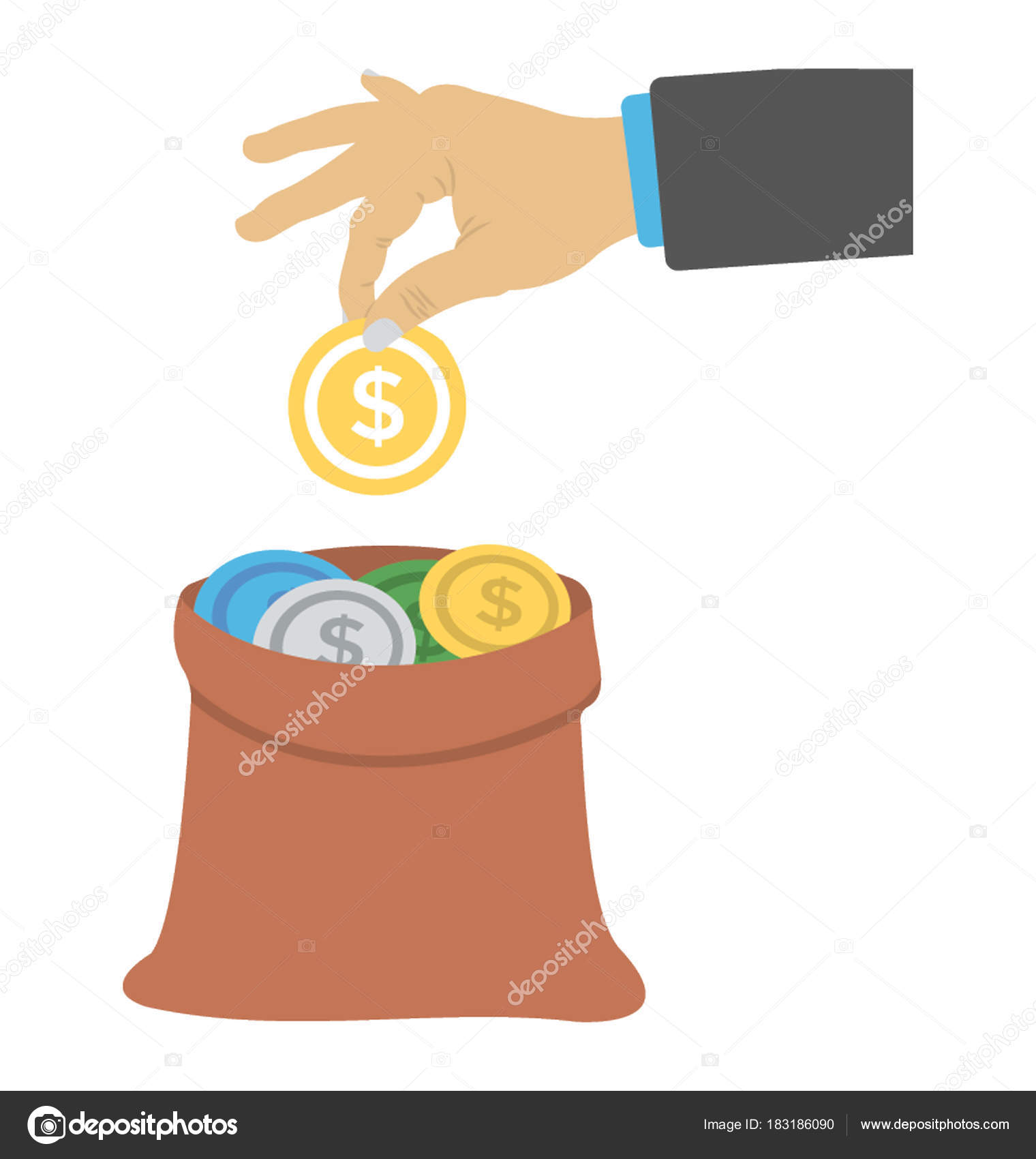hand collecting money investment flat icon stock vector