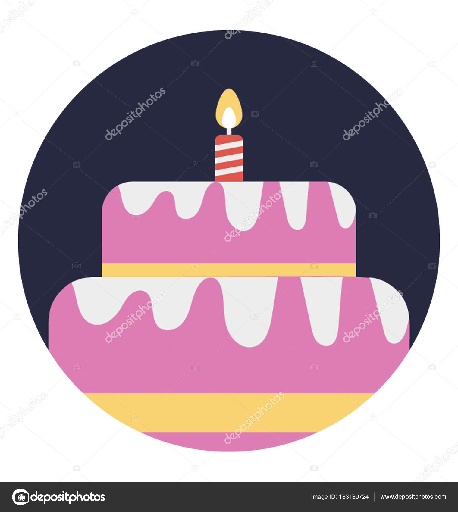 Pink Birthday Cake Burning Candle Flat Vector Icon Stock Vector