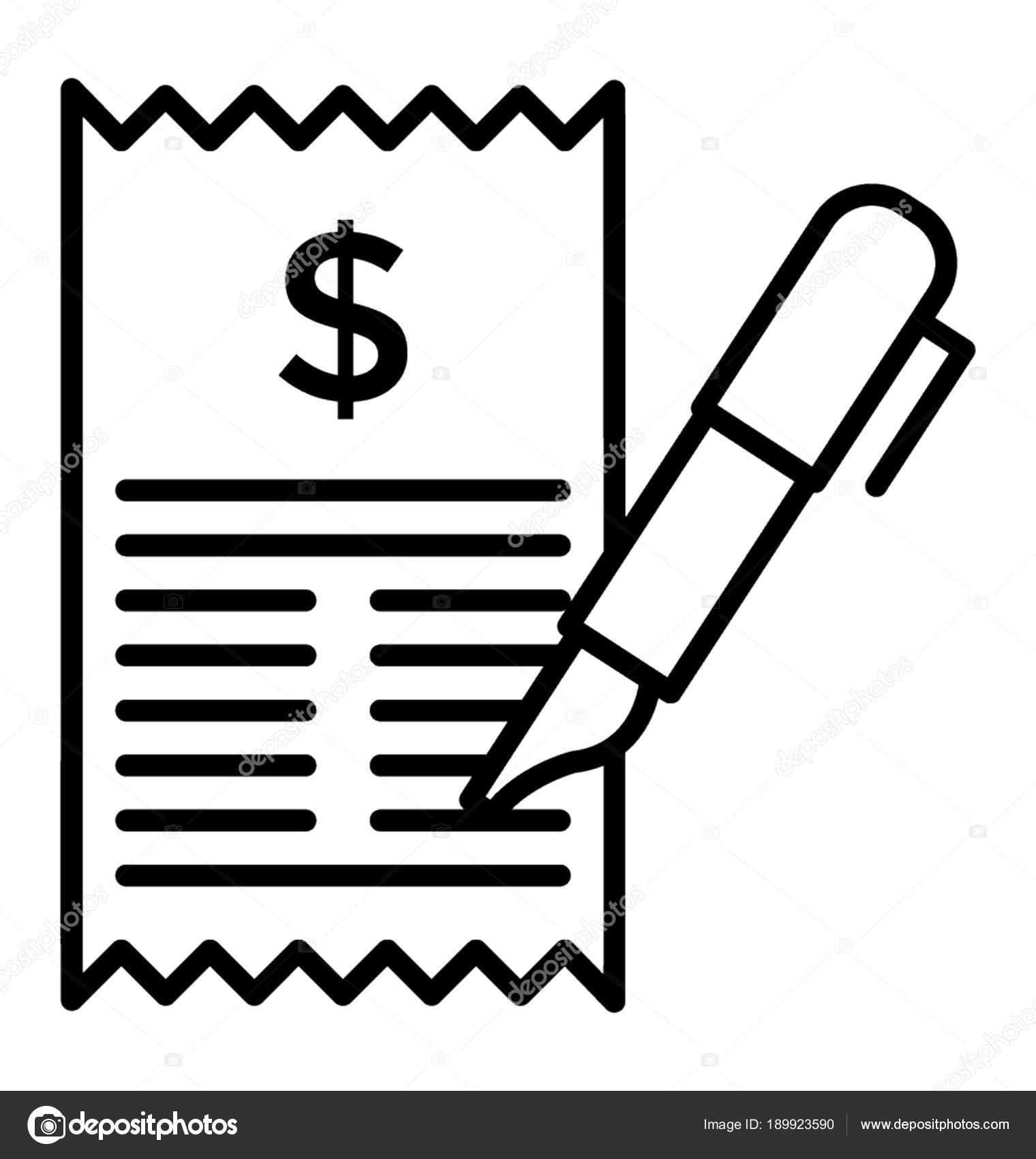 line icon payment billing sheet stock vector vectorsmarket