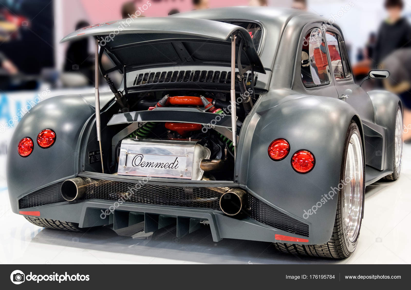 Schwarz Fiat 500 Lamborghini Italienischen Auto Mit Motor Im