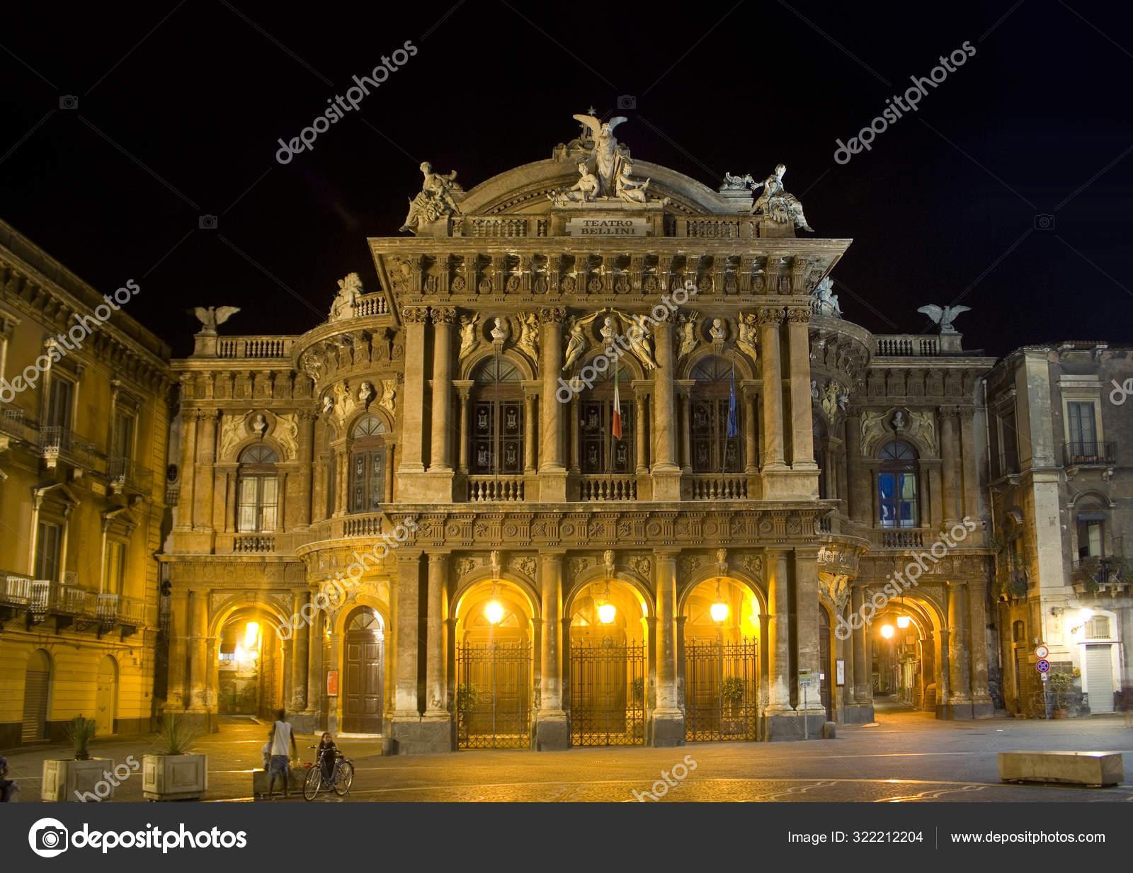 Обои опера, Катания, ночь, Театр Массимо Беллини, дома, сицилия. Города foto 16