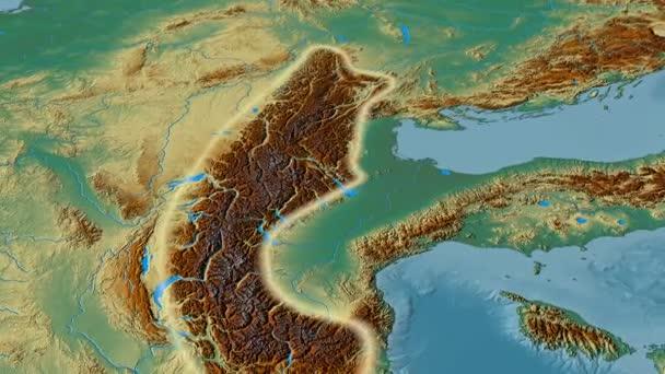 Revolution around Alps mountain range - glowed. Relief map