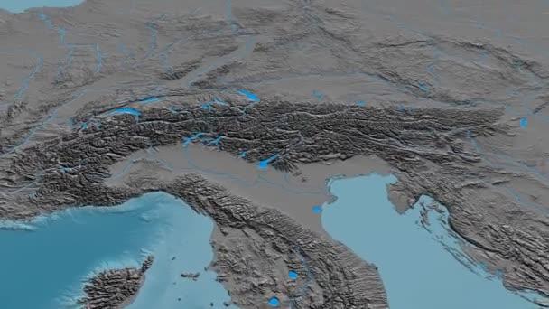 Revolution around Alps mountain range - masks. Elevation map