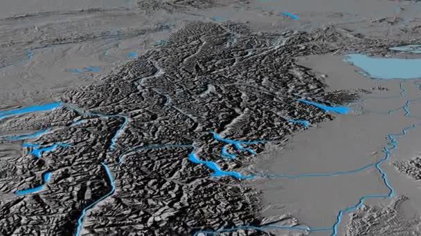 Glide over Alps mountain range - masks. Elevation map