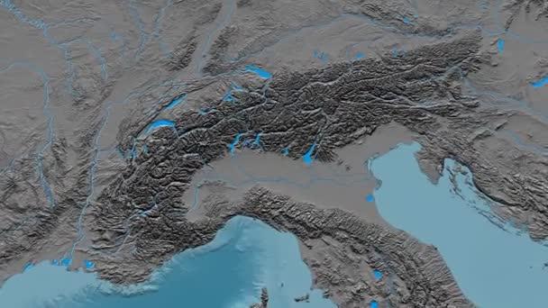 Zoom into Alps mountain range - masks. Elevation map