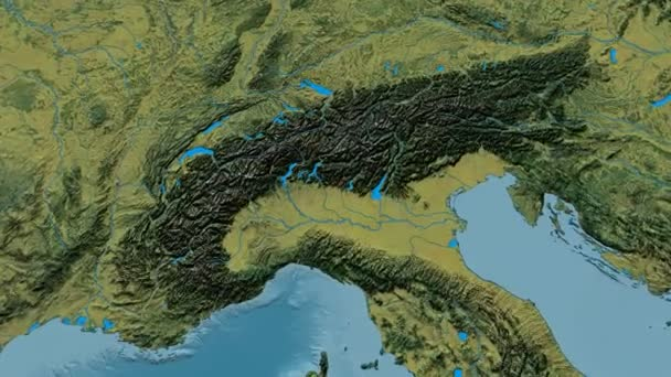 Zoom into Alps mountain range - masks. Topographic map — Stock Video ...
