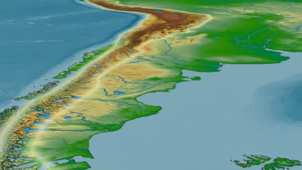 Glide over Andes mountain range - glowed. Colored physical map ...