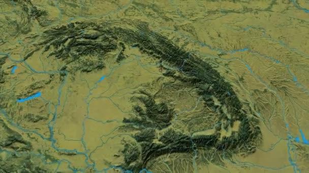 Zoom into Carpathian mountain range - masks. Topographic map — Stock Carpathian Mountains Map on