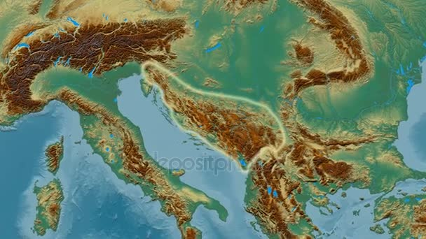 Zoom into Dinaric Alps mountain range - glowed. Relief map