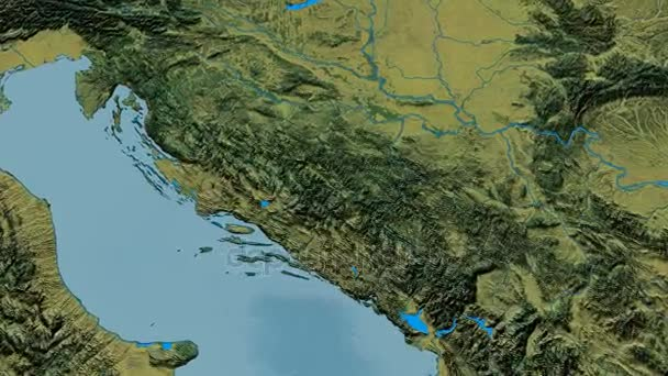 Zoom into Dinaric Alps mountain range - masks. Topographic map ...