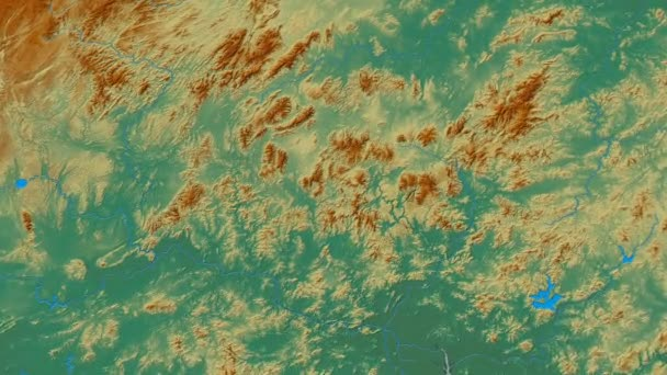 Zoom into Nan Ling mountain range - masks. Relief map
