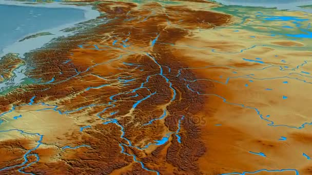 Glide over Rocky mountain range - masks. Relief map — Stock Video ...