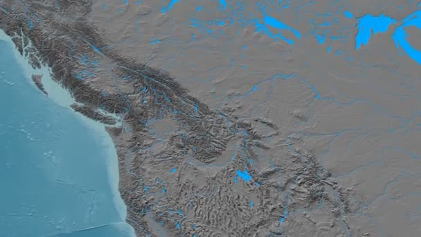 Zoom Into Rocky Mountain Range Masks Elevation Map Stock Video