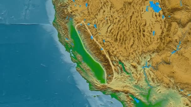 Zoom into Sierra Nevada mountain range glowed Colored physical