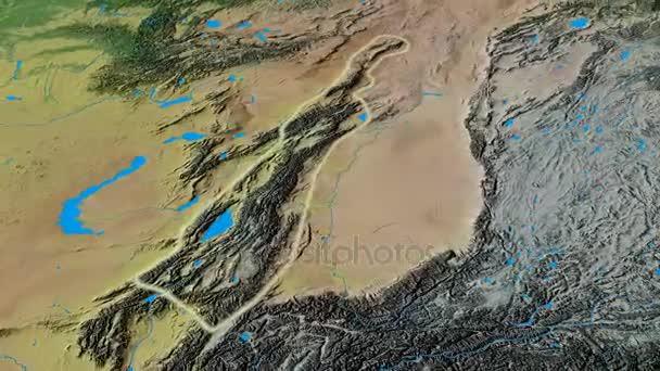 Revolution around Tian Shan mountain range - glowed. Topographic map ...