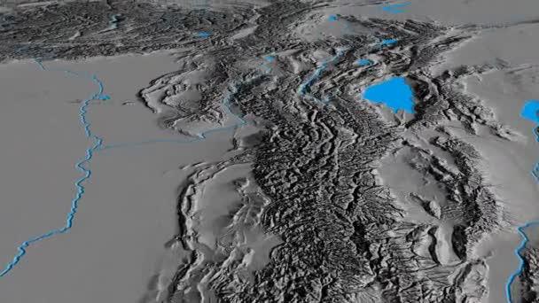 Glide over Tian Shan mountain range - masks. Elevation map — Stock ...