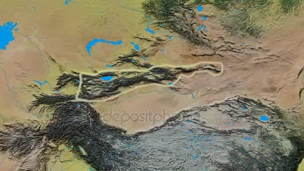 Zoom into Tian Shan mountain range - glowed. Topographic map — Stock ...