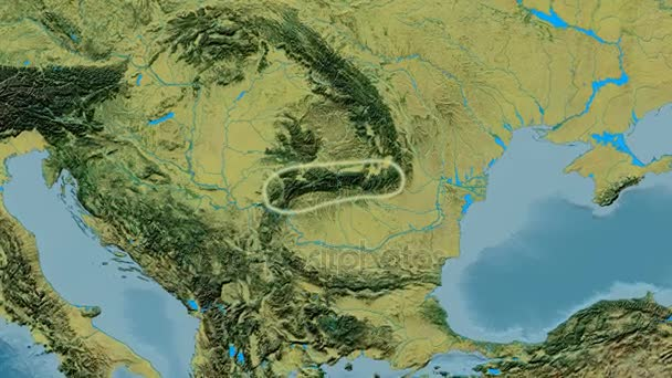 Zoom into Transylvanian Alps mountain range - glowed. Topographic ...