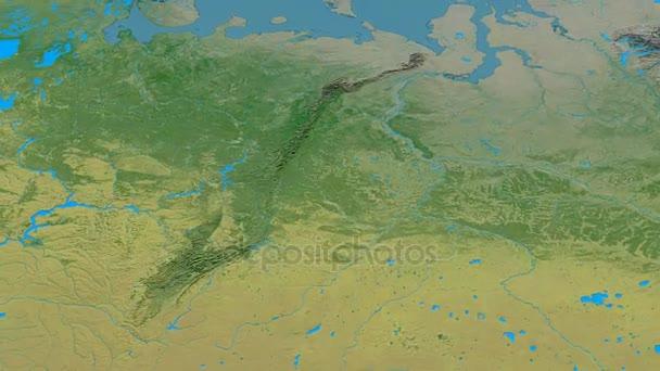 Revolution around Ural mountain range - masks. Topographic map ...