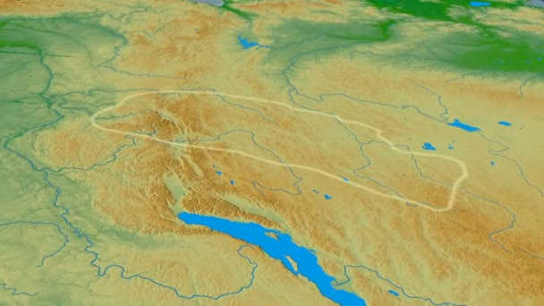 Zoom into Ural mountain range - masks. Colored physical map — Stock ...