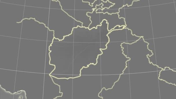Afghanistan and neighborhood. Grayscale