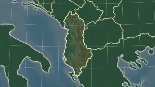 Albania and neighborhood. Relief