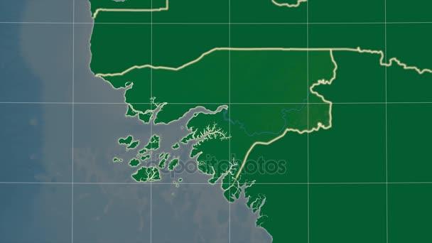 Guinea-Bissau a okolí. Fyzické