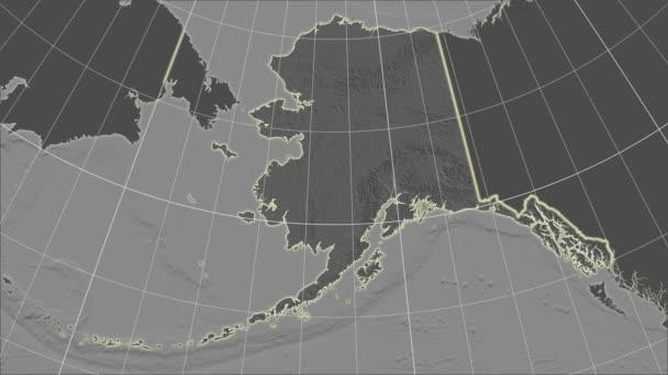 Spojené státy Aljaška a okolí. Stupně šedi v kontrastu