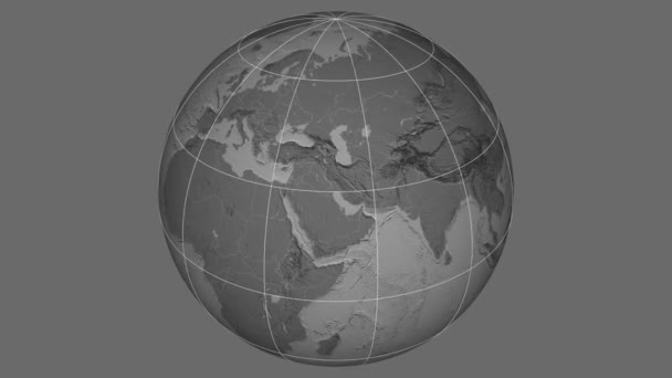Zoom-in on Afghanistan extruded. Grayscale contrasted
