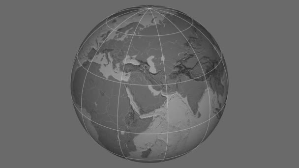 Zoom-in on Afghanistan outlined. Grayscale contrasted