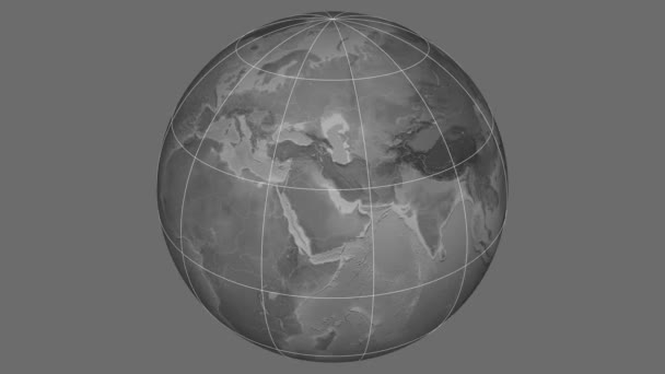 Zoom-in on Afghanistan outlined. Grayscale