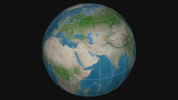 Zoom-in on Afghanistan outlined. Satellite