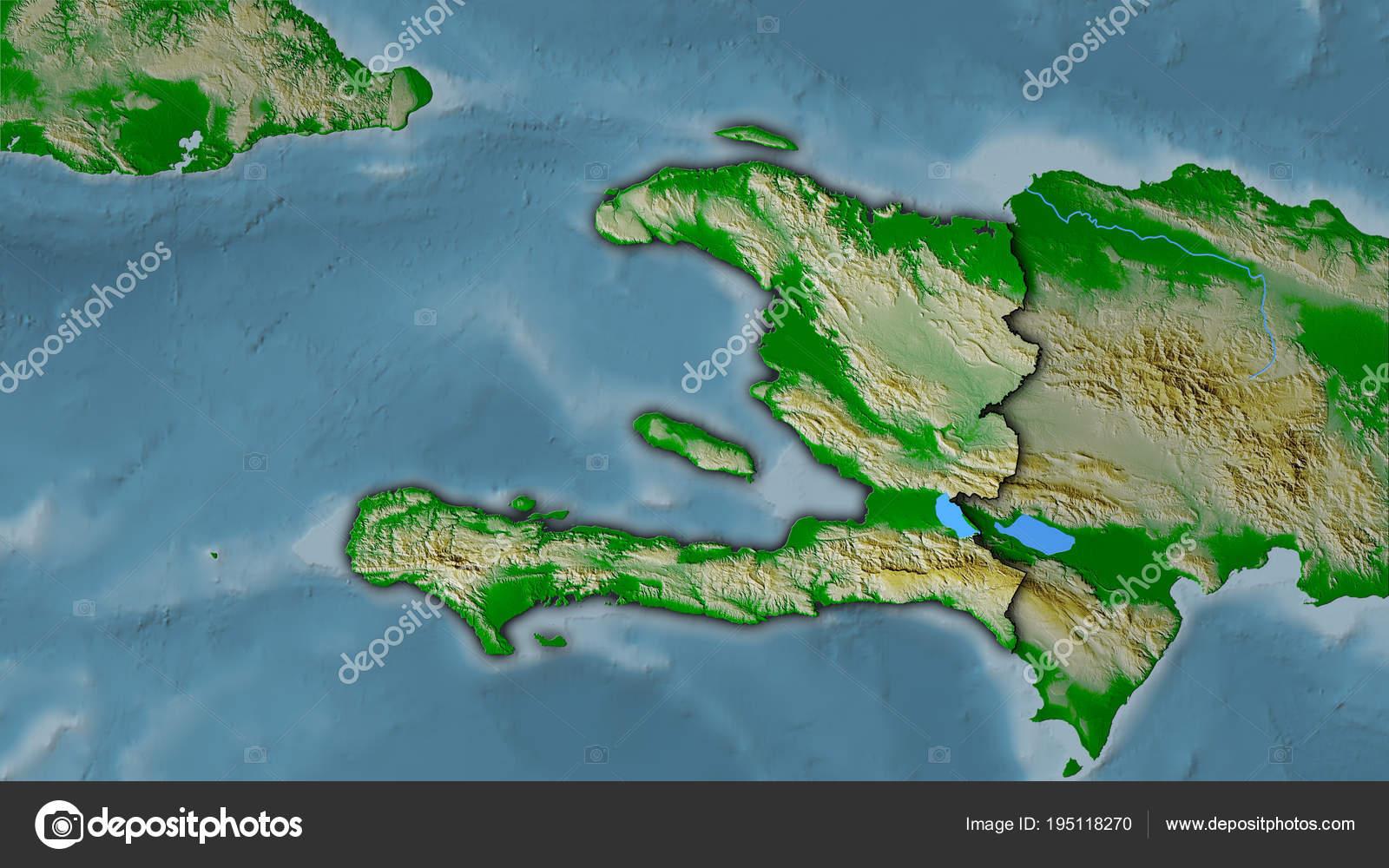 Topographic Map Of Haiti.Haiti Topographic Physical Dark Glow Stock Photo C Yarr65