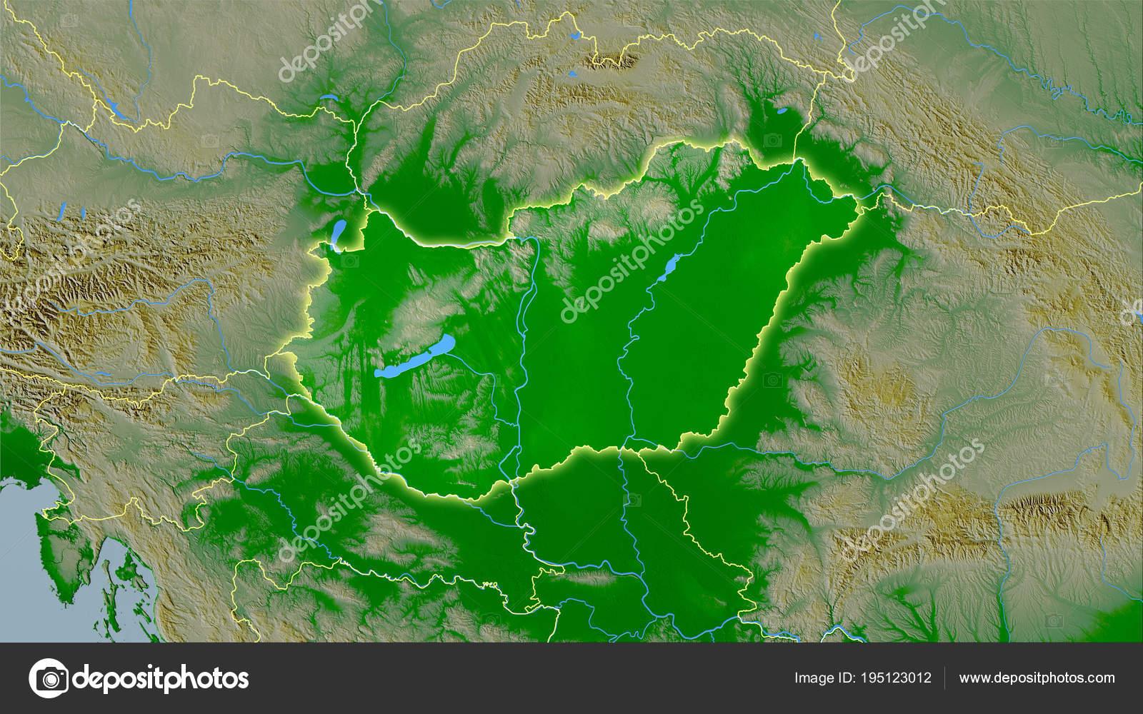 Topographische Karte Ungarn.Ungarn Topographische Physische Licht Leuchten