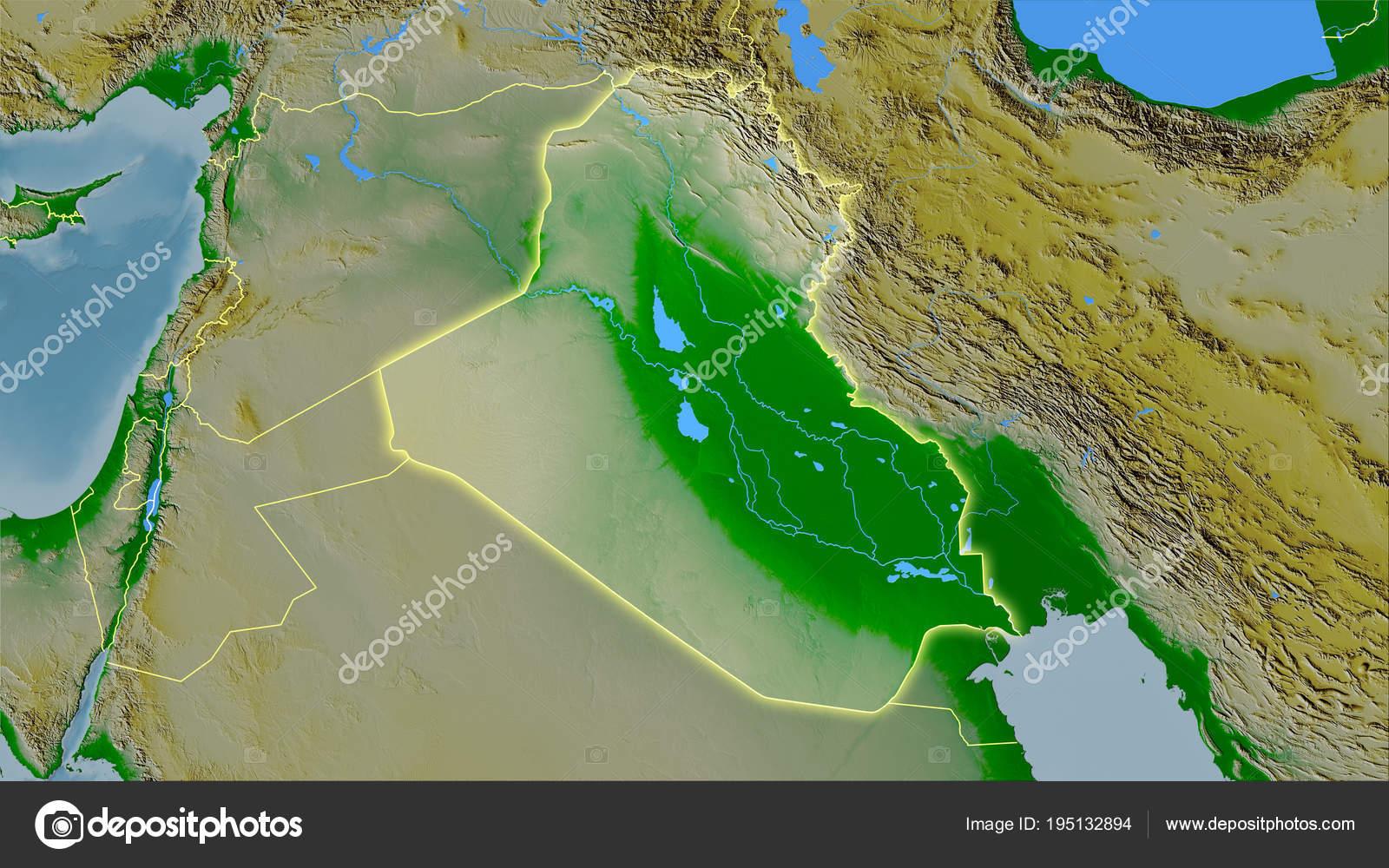 Iraq Topographic Physical Light Glow Stock Photo C Yarr65