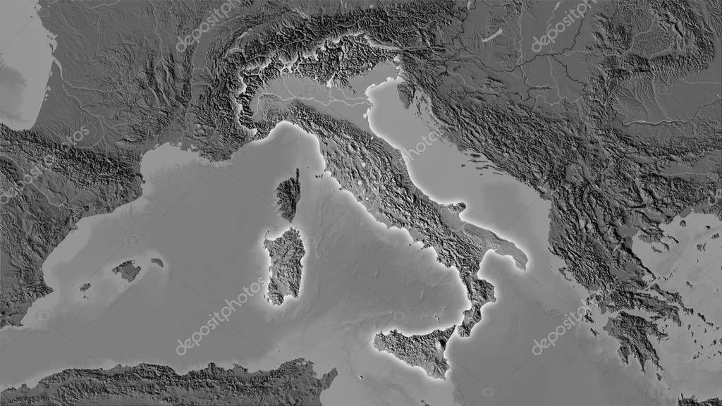 Italy, bilevel elevation - light glow
