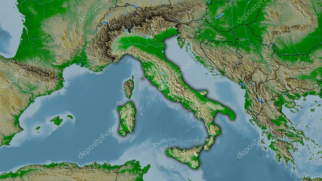 Italy, topographic physical - dark glow