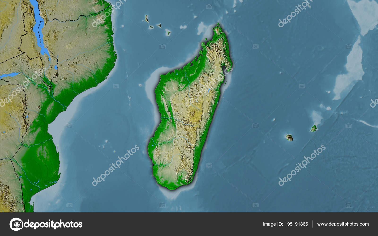 Topographic Map Of Madagascar.Madagascar Topographic Physical Dark Glow Stock Photo C Yarr65