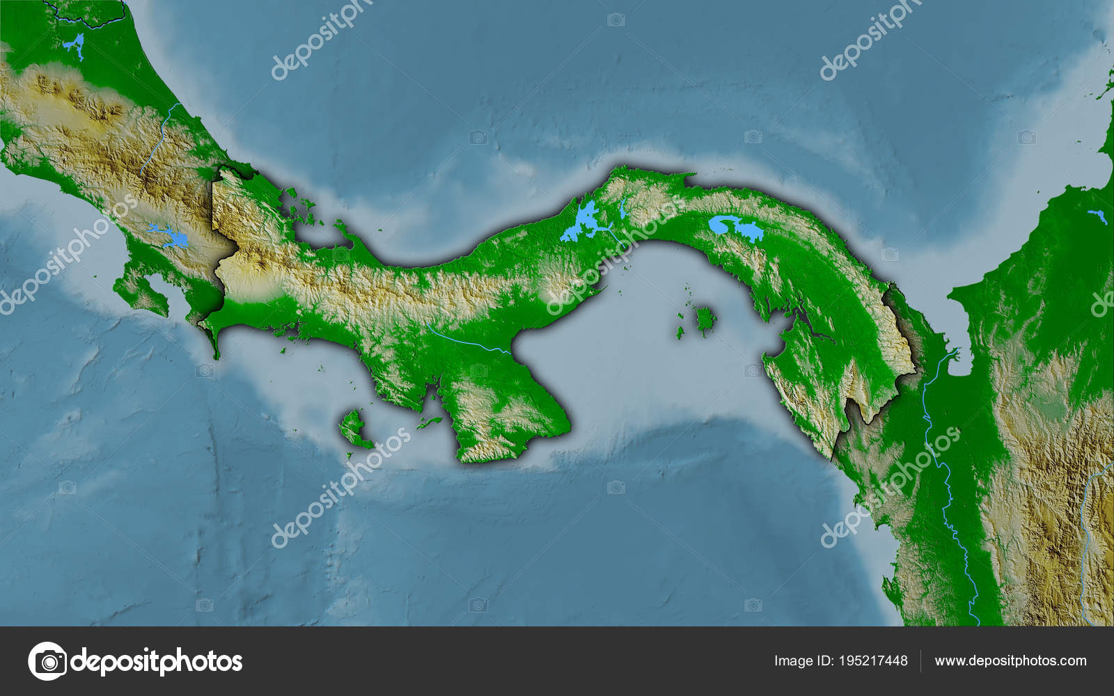 Panama Topographic Physical Dark Glow Stock Photo C Yarr65