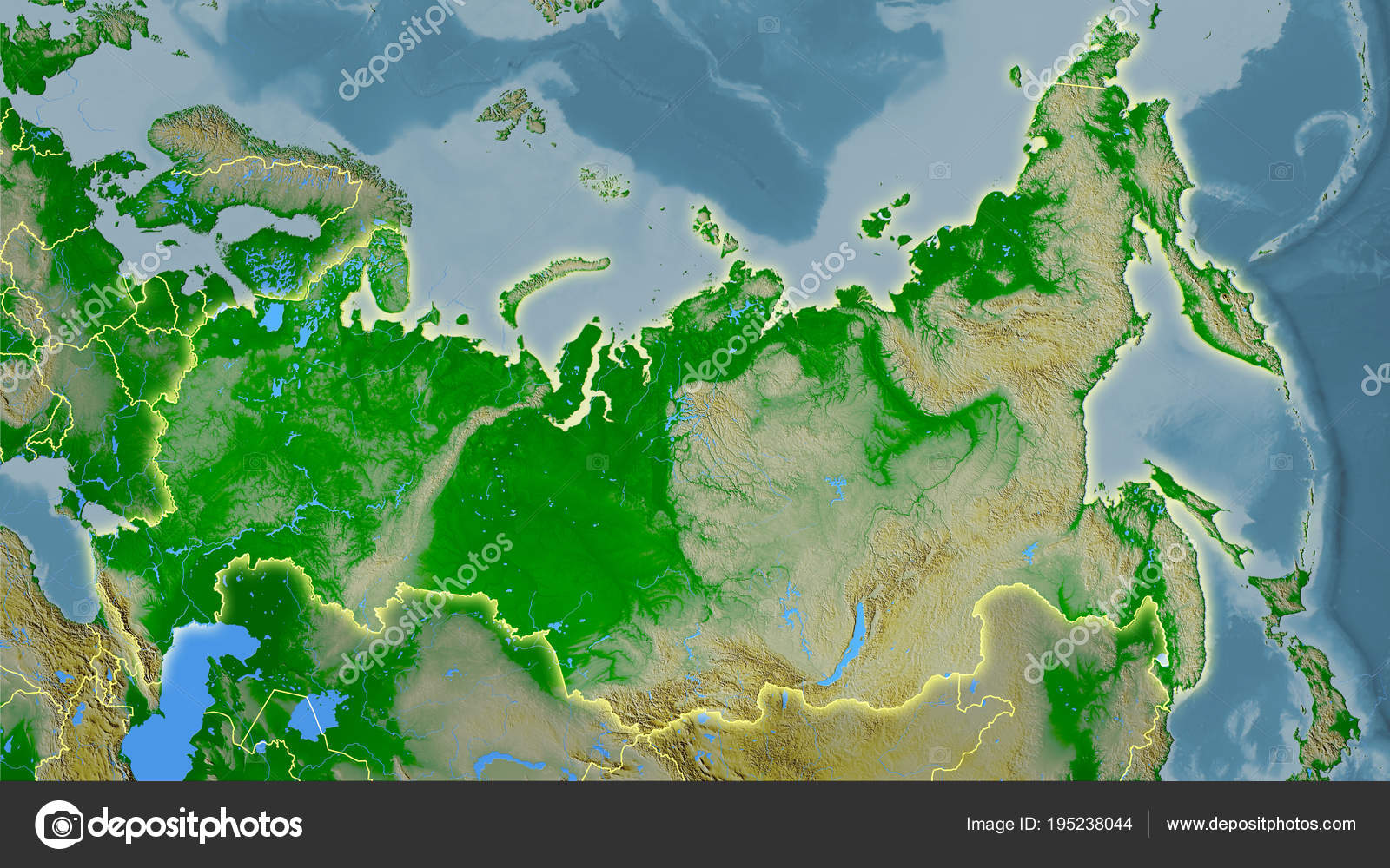 Russia Topographic Physical Light Glow Stock Photo C Yarr65