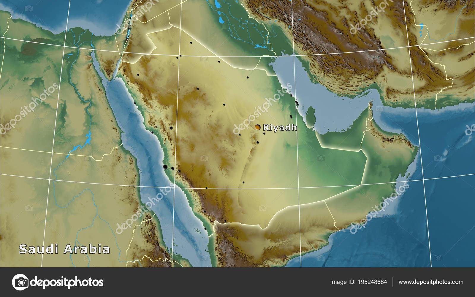 Topographic Map Of Saudi Arabia.Saudi Arabia Topographic Relief Composition Stock Photo