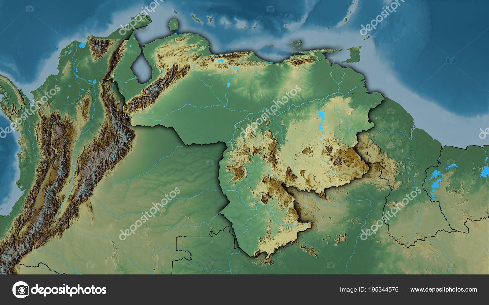 Venezuela Topographic Map.Venezuela Topographic Relief Dark Glow Stock Photo C Yarr65