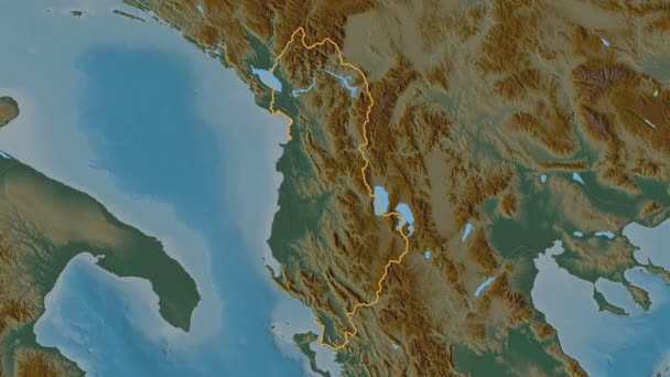 Berat extruded. County of Albania. Stereographic relief map