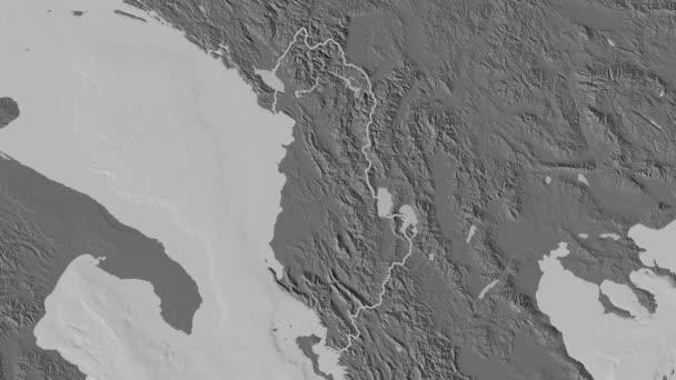 Gjirokaster extruded. County of Albania. Stereographic bilevel map