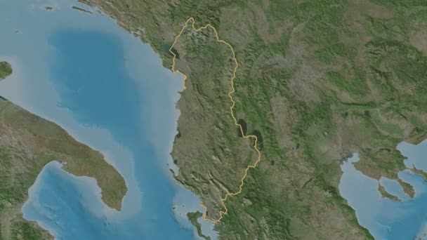Vlore extruded. County of Albania. Stereographic satellite map