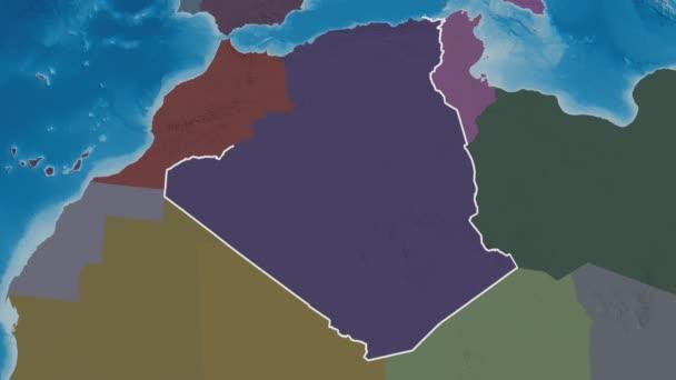 Bejaia extruded. Province of Algeria. Stereographic administrative map