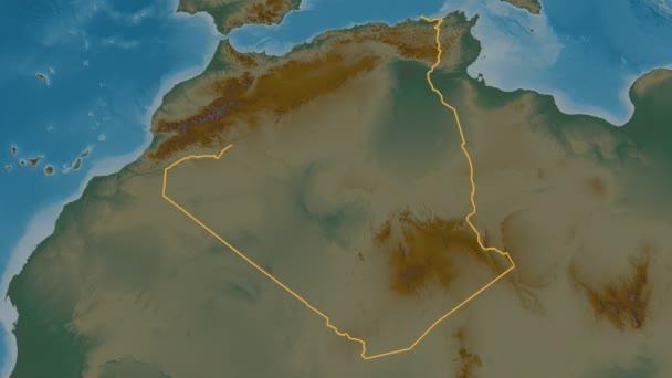 Bordj Bou Arreridj extruded. Province of Algeria. Stereographic relief map