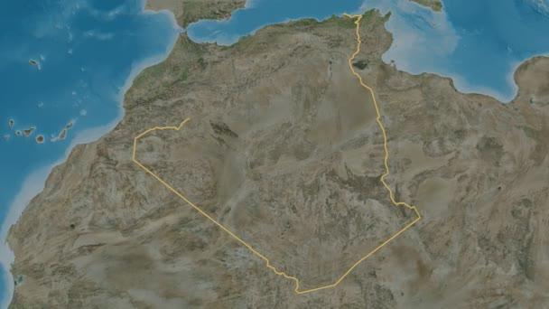 Bordj Bou Arreridj extruded. Province of Algeria. Stereographic satellite map