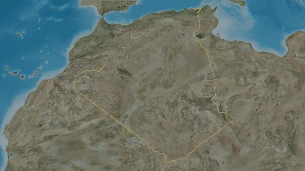 Oran extruded. Province of Algeria. Stereographic satellite map