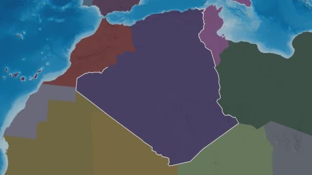 Saida extruded. Province of Algeria. Stereographic administrative map
